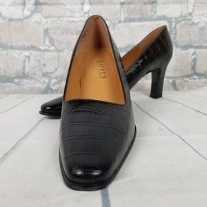 Lauren by Ralph Lauren Leather Croc Pumps 10B